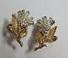 Vintage Crown Trifari Rhinestone Flower Earrings