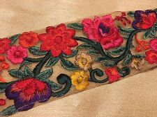 Beautiful thread-embroidered lace on net fabric with red, pink & yellow flowers