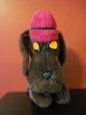 "HTF Vintage 1975 Dakin SHERLOCK HOLMES Plush DOG 10"" Droopy Eyes Felt Red Hat"