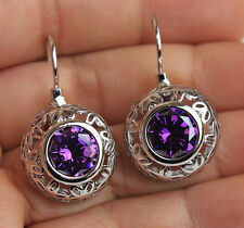 18K White Gold Filled- 1.2'' Hollow Flower Round Amethyst Cocktail Hoop Earrings