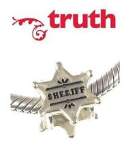 Genuine TRUTH PK 925 sterling silver SHERRIF BADGE charm bead policeman western