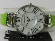 Anne Klein Watch, Women's Green  Leather Strap 35mm Ak-1269