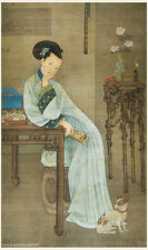 Chinese antique painting on silk Spring girl tired from reading in Qing dynasty