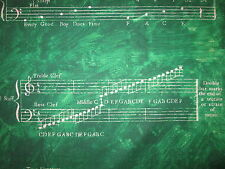 MUSIC LINES NOTES GREEN BACKGROUND COTTON FABRIC BTHY