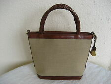 Brahmin Brown Canvas & Leather Purse Braided Leather Handles w/Hang Charm