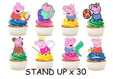 30 PEPPA PIG STAND UP Cupcake Fairy Cake Topper Edible Paper Decorations