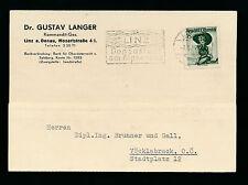 Geschäfts-Postkarte 1956 aus Linz Gustav Langer, Kommandit-Ges.   (A10)