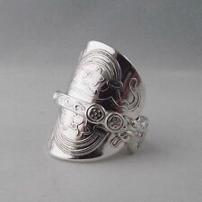Stunning Detail Handmade Antique Ornate Sterling Silver Spoon Ring dated 1961