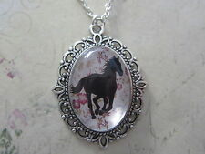 Black Shabby Chic Running Horse Silhouette Silver Plated Necklace New Gift Bag