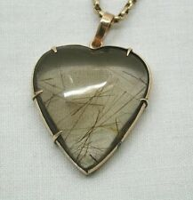 Beautiful Antique Large Heart Shaped Gold & Rutilated Smokey Quartz Pendant