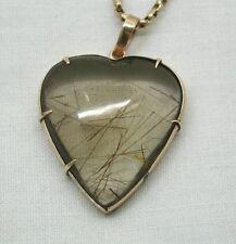Beautiful Antique Large Heart Shaped Gold & Rutilated Smokey Quartz Pendant