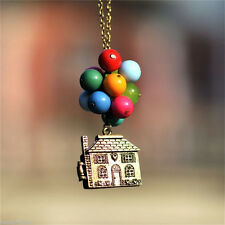 House with Balloons Up Movie Chain Pendant Necklace Antique Anniversary Gift UK