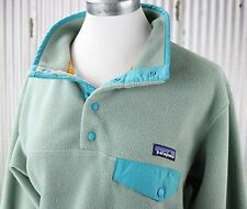 Patagonia Synchilla Snap-T Fleece Womens L large pullover jacket green 25455