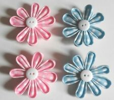 4 flower embelishments pink/blue polka dot/white button/cards /babys/scrapbook
