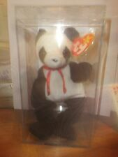 BEANIE BABY FORTUNE THE  PANDA IN ACRYLIC HOLDER, WITH TAG.