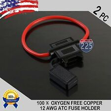 2 PACK 12 GAUGE ATC IN-LINE FUSE HOLDER 100% OFC COPPER WIRE CABLE WATERPRO