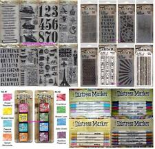 TIM HOLTZ Lot of 8 Cling Rubber Stamps 8 Layering Stencils 8 Ink Pads 20 markers