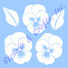 "PANSY STENCIL PANSIES FLOWER FLOWERS LEAF TEMPLATES TEMPLATE CRAFT NEW 6"" X 7.5"""