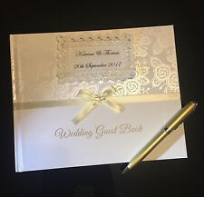 Personalized Luxurious Floral Wedding Guest Book And Gold pen