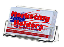 2 Clear Plastic Business Card Holder Display Stand Desk