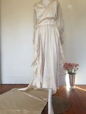 Antique 1910s Tiered Wedding Gown Pearls Beading Net Lace Long Train Appliqués