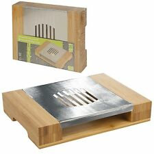 Bamboo Tea Light Hot Plate Stainless Steel Food Meal Pot Warmer Buffet Server