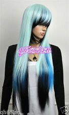 New ladies women Long Multicolor White Blue Black Straight Women's Hair Wig Wigs