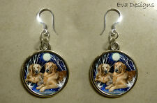 GOLDEN RETRIEVER DOGS JEWELRY HANDMADE SILVER ROUND CHARM DANGLE EARRINGS