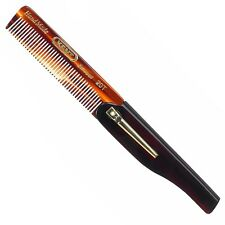 Kent Combs 20T 100mm Fine Tooth Mens Grooming Folding Pocket Hair Comb with Clip