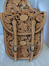 Billy Cook Leather Saddle Bags Hand Carved Sheridan Floral Horse Jeremiah Watt