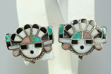 VTG 1950'S  STERLING SILVER TURQUOISE CORAL MOP SUNFACE SCREW EARRINGS