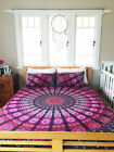 Indian Violet Star Mandala Quilt Queen Size Ethnic Bedspread With 2 Pillow Cover