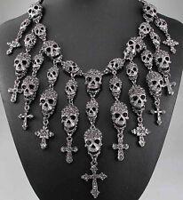 pendant Crystal Bib Statement charm chunky Black Skull collar Chain Necklace 578