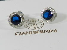 Giani Bernini Blue Crystal Cubic Zirconia Halo Stud Earrings in Sterling Silver