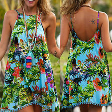 Bohemian Women Lady Floral Sleeveless Beach Casual Evening Party Dress XXL US