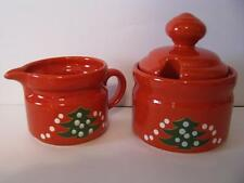 Waechtersbach Christmas Tree Creamer & Sugar Bowl German Stoneware New
