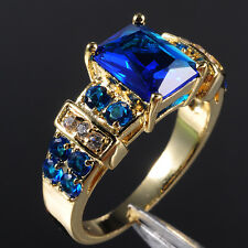 Sz 12 or Y Brand Jewelry 10KT Yellow Gold Filled Blue Tanzanite Ring Gift Father
