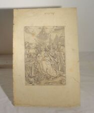 Antique Albrecht Durer Woodcut Engraving Print The Holy Family with 5 Angels