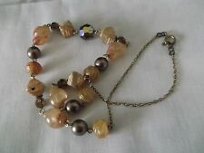 """LOVELY UNUSUAL  VINTAGE PEACH GLASS BROWN PEARL AURORA BEADED 16"""" NECKLACE"""