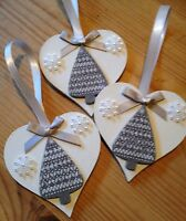 3 X New Christmas Decorations Handmade Country Tree Snowflake Silver Ribbons