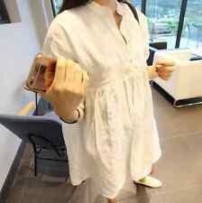 2016 New Korean Women Girl Cotton Linen 3/4 Sleeve Swing Mini Shirt Dress White