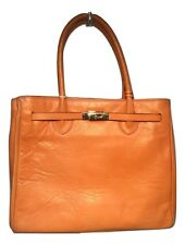 Francesco Rogani Vintage Orange Leather Kelly Bag Tote