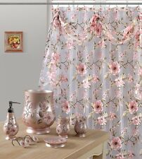 Melarosa Pink High Quality Scarf Sheer Shower Curtain Made 100% polyester.