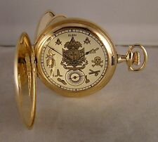 100 YEARS OLD ELGIN 14k GOLD FILLED HUNTER CASE MASONIC DIAL 12s POCKET WATCH