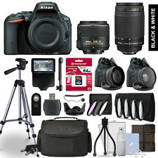 Nikon D5500 SLR Camera 4 Lens Kit 18-55 + 70-300mm + 64GB Accessory Bundle
