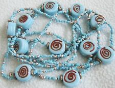 Vintage 1970s Retro Long TURQUOISE Blue Glass Beaded NECKLACE