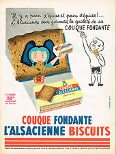 PUBLICITE ADVERTISING 015  1956  L'ALSACIENNE  pain d'épices COUQUE FONDANTE