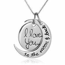 """""""I Love You To The Moon And Back 20"""" Necklace Pendant Chain Alloy Silver"""