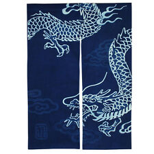 "Japanese Noren 33.5"" x 48""  Indigo 2-Panel Curtain Doorway ""RYU"" Dragon/S3068"