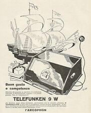 W6016 Radio Telefunken 9 W - Siemens - Illust. - Pubblicità 1929 - Advertising